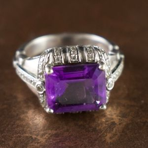 Purple & Cubic Zirconia Sterling Silver Ring